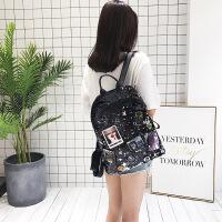 时尚个性亮片双肩包女韩版潮流徽章大容量背包新款旅行书包女