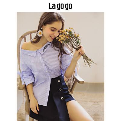Lagogo/拉谷谷2019年夏季新时尚小清新女刺绣条纹衬衫HACC325A22