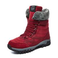 雪地靴女冬季妈妈棉靴平底防滑中筒加棉老人鞋加绒加厚中老年毛靴