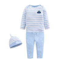 童装男童纯棉长袖T恤宝宝婴儿汽车裤子蓝色条纹睡衣打底服