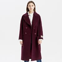 【1件2折到手价:279.2】羊毛混纺MECITY女气质拼接加厚外套长款毛呢大衣过膝
