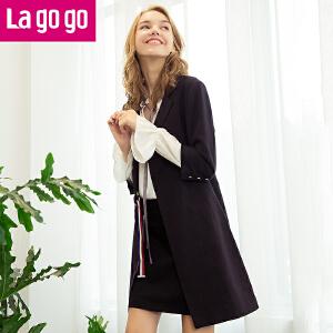 【清仓3折价111.9】Lagogo/拉谷谷2019年秋新款后侧开衩个性翻领西装