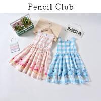 【3件2折:59.8】铅笔俱乐部童装2020夏装新款女童连衣裙中大童格子裙子儿童连衣裙