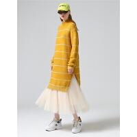 初语连衣裙春季新款休闲宽松撞色条纹拼接套头高领毛衣中长裙