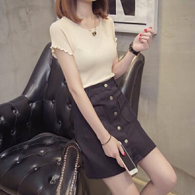 女装夏装2018新款潮短袖镂空上衣打底衫女宽松外搭薄款