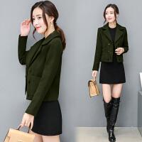 20秋冬季新款韩版短款外套女西服领短装毛呢小外套长袖 时尚潮流显瘦