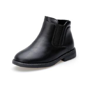 比比我2017冬季款马丁靴儿童低筒短靴套脚童鞋平跟男靴