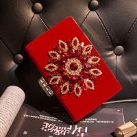 晚宴包晚会手拿包镶钻新款新娘结婚包晚礼服搭配红色小手包女 红色