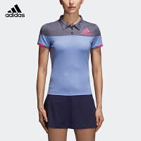 阿迪达斯adidas 运动短袖 羽毛球服休闲女T恤polo衫