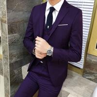 四季职业正装男士西服套装 韩版修身新郎结婚伴郎西装三件套礼服