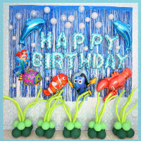 家居生活用品海洋主题气球套餐海豚鱼龙虾美人鱼气球儿童生日派对布置装扮装饰