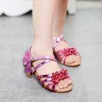 春夏新款儿童拉丁舞鞋女孩舞蹈鞋女童拉丁练功鞋中跟软底拉丁凉鞋