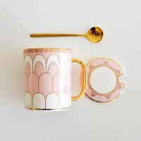 北欧简约马克水杯陶瓷大容量定制欧式情侣茶杯子咖啡杯带盖勺子