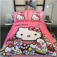 凯蒂猫全棉磨毛四件套卡通kitty床上用品儿童棉kt床单被套床笠 酒红色 淘气kt-红-磨毛款