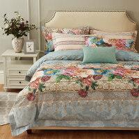 磨毛四件套欧式欧饰美提花印花床品套件被套床单1.5m/1.8米Q