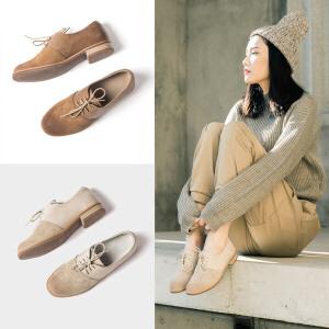 青婉田新款春季单鞋女平底休闲女鞋真皮复古小皮鞋女英伦个性