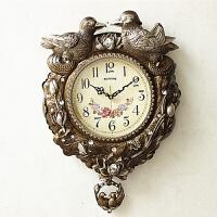 欧式挂钟客厅大号钟表现代钟时尚创意镶钻壁钟个性时钟石英钟 银色 20英寸