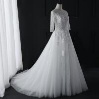 №【2019新款】冬天穿的婚纱礼服女韩版新娘结婚一字肩长袖蕾丝拖尾显瘦齐地