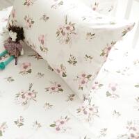 夏季床品唯美素雅碎花床单床笠仙人掌纯棉全棉枕套床上用品三件套