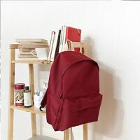 韩国新款双肩包女背包防水时尚简约纯色书包中学生女百搭 酒红色 无印版7天发货