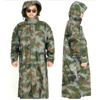 户外长款迷彩风衣救援雨衣俄罗斯巡逻连体军品雨衣速干披风 迷彩雨衣 X