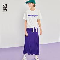 【清仓直降 叠券预估价:90.4元】初语夏装新款白色棉质短袖T恤女两件套休闲雪纺半身裙套装
