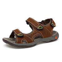 新品大码凉鞋男牛皮橡胶鞋底防滑耐磨透气魔术贴露脚趾真皮沙滩鞋