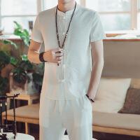 中国风复古衬衣套装短袖男唐装青年修身中式盘扣衬衫汉服中山装夏