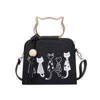 小猫手提包女包包2018新款韩版潮小猫咪印花单肩包可爱学生斜挎包