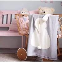ins婴儿毯儿童午睡毯宝宝兔子 男女童针织毯萌萌兔子空调毛线毯子