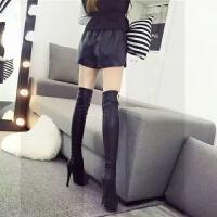 女鞋秋冬季过膝靴高筒靴弹力靴长靴女显瘦高跟细跟瘦腿长筒女靴子SN4082 黑黑 金属扣款6051-2