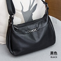 女士包包2018新款时尚真皮多层软皮包包女斜挎包简约百搭单肩潮包 黑色