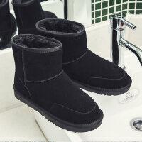 雪地靴男冬季保暖加绒男士高帮靴子女短靴面包鞋真皮18潮棉鞋男鞋