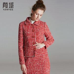 颜域品牌女装2017冬装新款优雅复古翻领粗纺呢格子印花短款外套女