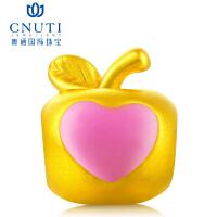CNUTI粤通国际珠宝 黄金转运珠 3D硬金足金手链串珠转运珠 黄金小苹果 心心相印 约1.1g