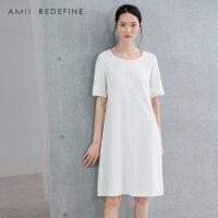 [AMII东方极简] JII[东方极简]2018夏季新款女装连衣裙绣花棉麻短袖大码中裙夏