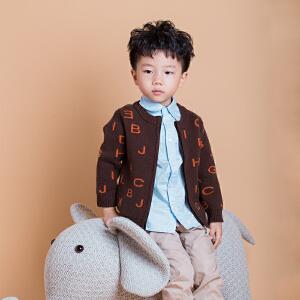 儿童外套韩版休闲字母针织衫秋冬季新款男童毛线上衣开衫