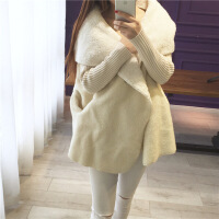 韩版秋冬季新款女装大码宽松毛衣开衫中长款带帽外套女加绒加厚 均码