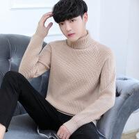 纯色高领毛衣男中学生秋冬季加厚保暖长领针织衫紧身围脖毛线衣服
