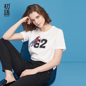 初语2018夏季新款 印花圆领短袖文艺纯棉T恤女
