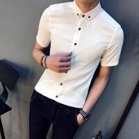 夏季男士短袖�r衫�n版商�招蓍e�r衣潮流上衣服男修身���獍胄浯缟�