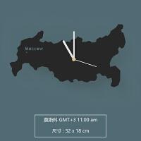 世界地图时钟表挂钟客厅家用现代简约钟北欧大气个性创意挂表 12英寸
