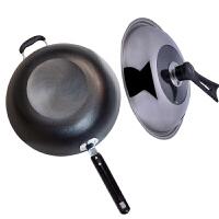 铸铁铁锅炒锅传统平底电磁炉炒锅燃气通用锅具 32cm