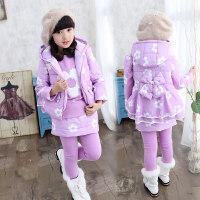 2018新款童装女童秋装三件套卫衣加绒加厚秋冬季儿童棉衣运动套装