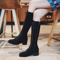 中长靴女冬不过膝不过膝长靴2018秋冬新款黑色马丁靴女粗跟长筒靴加绒高筒靴骑士靴lkf