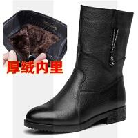 秋冬中老年真皮中筒靴妈妈鞋牛皮平底女士皮靴保暖加绒女靴中靴子SN0665