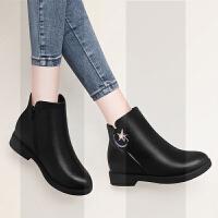 妈妈短靴子女士冬季2018新款韩版加绒保暖平底低跟中年妇女皮鞋黑SN1488 黑色73皮面 现货