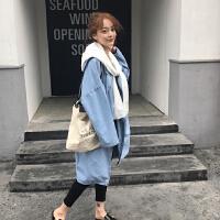201803231722057462018韩版时尚百搭女装外套宽松显瘦连帽洗水中长款蝙蝠袖牛仔风衣