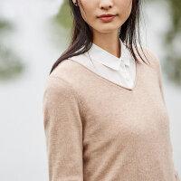[AMII东方极简] JII[东方极简]2017秋冬装新款女装温暖百搭V领纯羊绒毛衣羊绒衫女