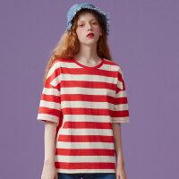 【1件3折到手价:41.7】美特斯邦威短袖T恤女条纹个性时尚上装宽松休闲衬衣秋装新款